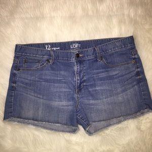 Ann Taylor LOFT Original Denim Shorts Fringe Hem